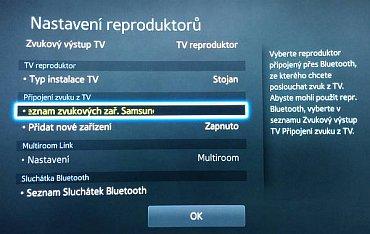 Připojení reproduktoru či zvukové lišty přes Bluetooth.