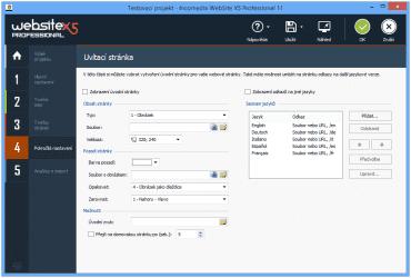 <p>V pokročilém nastavení naleznete možnost úpravy úvodní stránky</p>