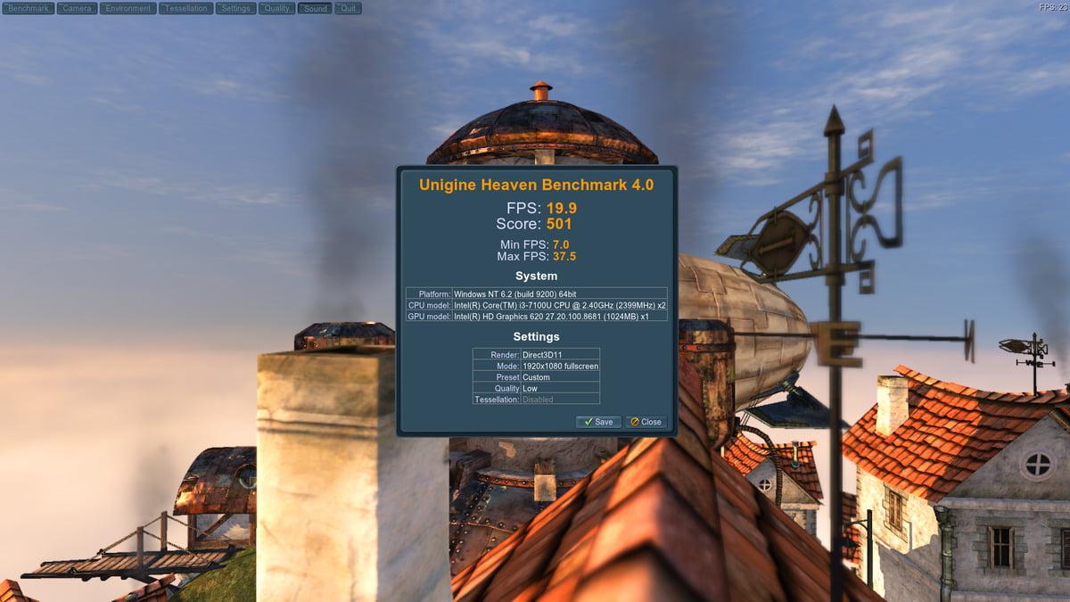 Ukázka výsledku testu výkonu v programu Heaven 4.0
