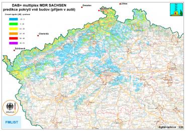 Predikce pokrytí MDR Sachsen vně budov (příjem v autě)