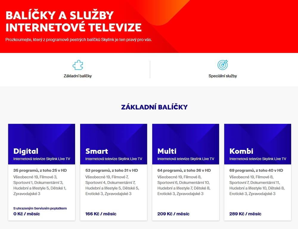 Tarify a balíčky Skylink - léto 2020