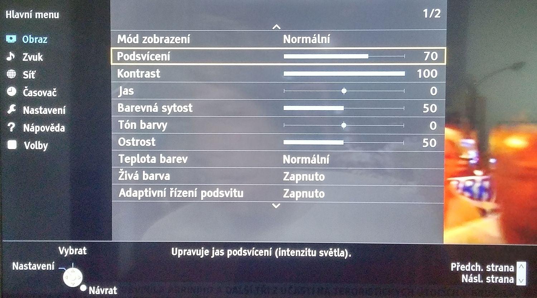 Panasonic TX-49DS500 - Menu nastavení
