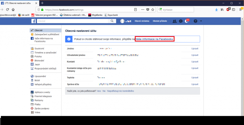 Obecné nastavení Facebooku