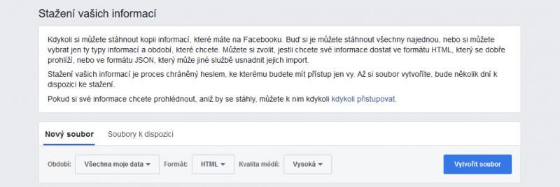 Stažení informací z Facebooku