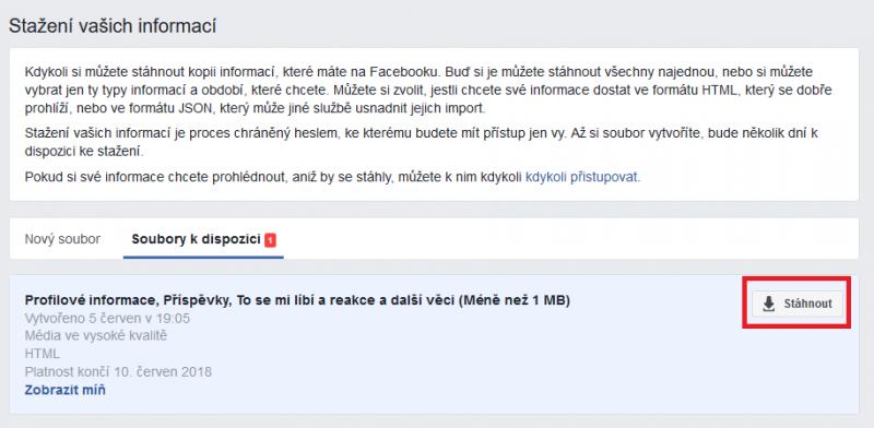 Informace z Facebooku jsou připraveny