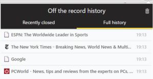 Rozšíření Off The Record History v akci v anonymním režimu