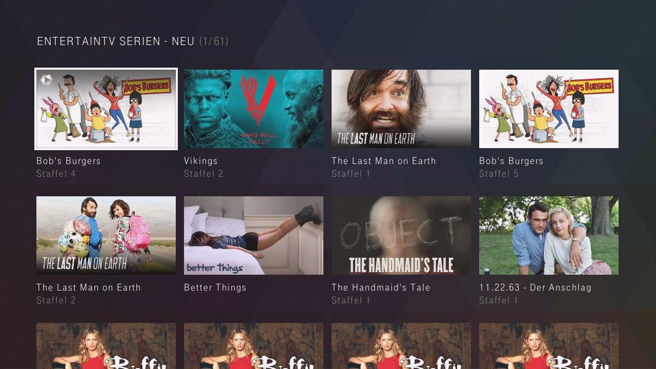 Entertain TV Serien – uživatelské prostředí