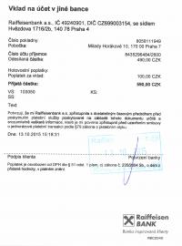 Pokladní doklad z Raiffeisenbank o provedení vkladu hotovosti na účet do Citibank.