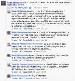 Diskuze řidičů Uber v uzavřené skupině na Facebooku.