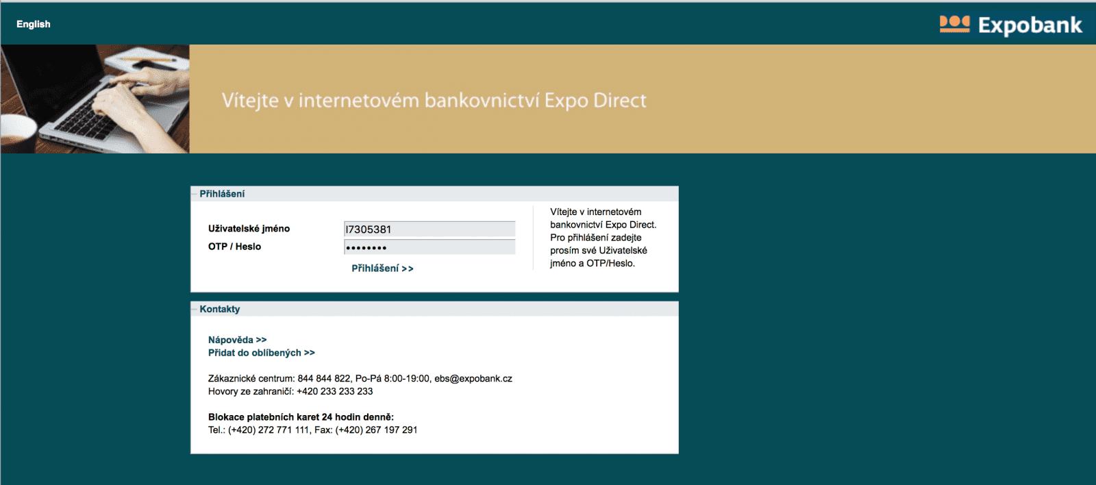 Internetové bankovnictví Expobank