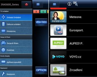 Ovladač Panasonic Remote 2 pro Android. Vlevo vidíte základní nabídku, vpravo pak nabídku widgetů televizoru AS500. Z telefonu Samsung Galaxy S2 jsem je mohl rovnou spustit.
