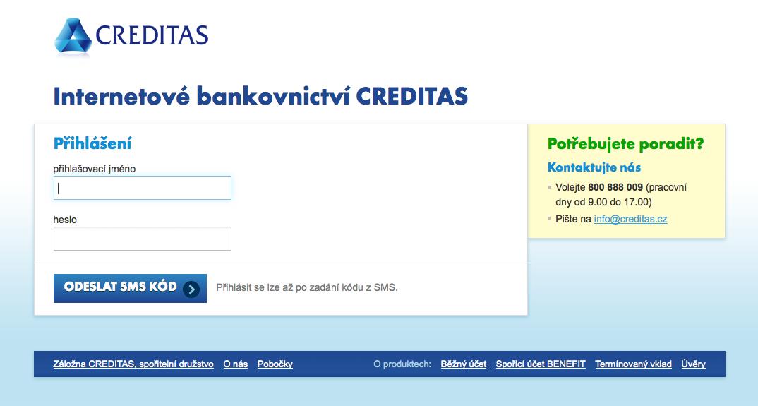 Internetové bankovnictví Záložny Creditas
