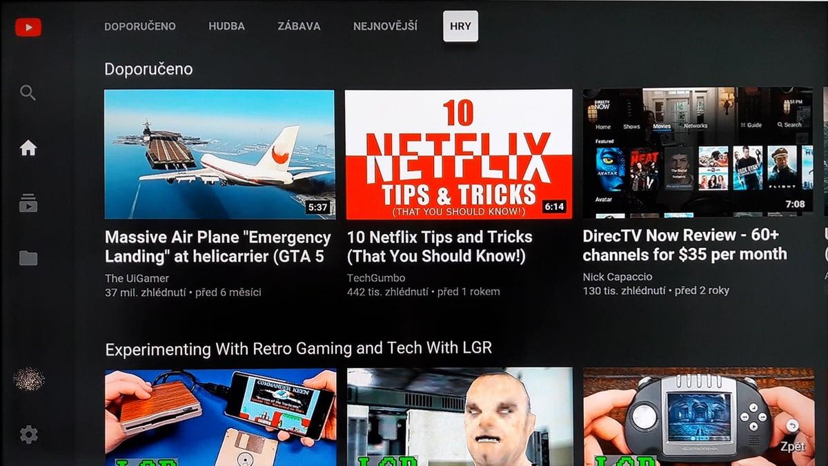 SledováníTV - Menu aplikace a YT účet