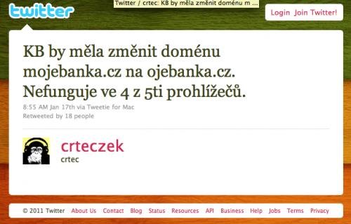 Tweet o Komerční bance
