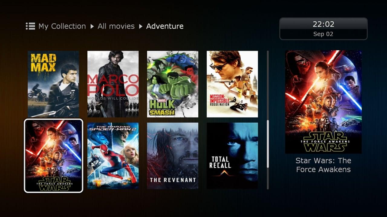Uživatelské rozhraní Dune HD – katalog multimédií – filmy