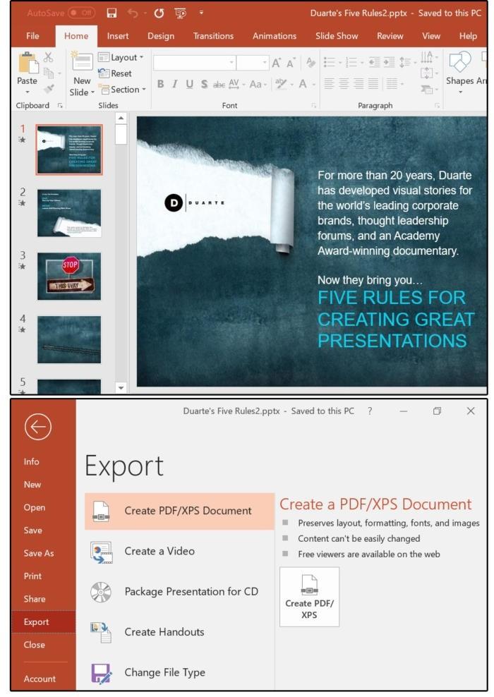 Export souboru za účelem vytvoření souboru ve formátu PDF