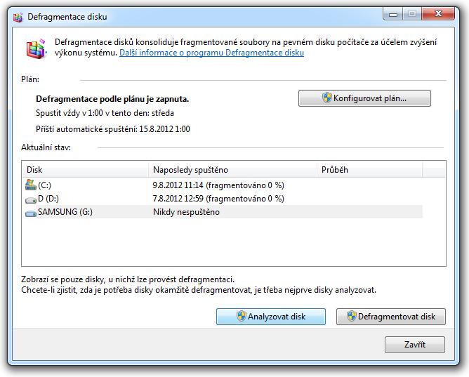 windows 7 defragmentace