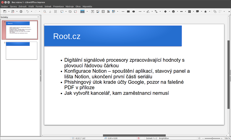 LibreOffice: rozhraní Single Toolbar