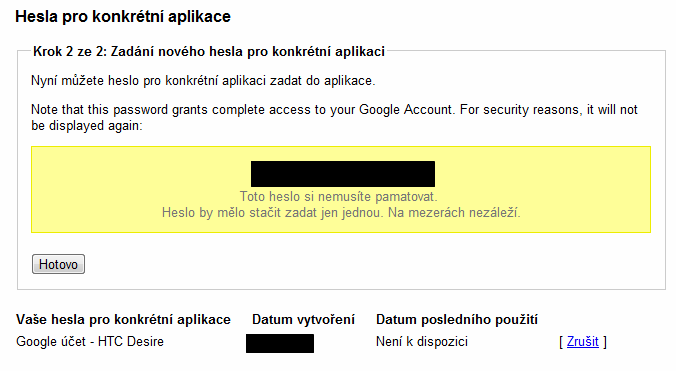 google heslo pro aplikaci