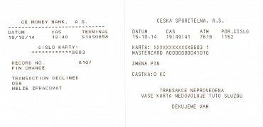 Ve dvou českých bankomatech se změnit PIN nepodařilo. Stvrzenka z ATM České spořitelny a GE Money Bank.