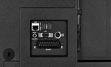 Dnešní nejobvyklejší výbava rozhraními u levného chytrého televizoru s úhlopříčkou 81, resp. 102 cm (Hyundai FL 32411 Smart).