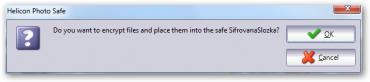 Dialog pro potvrzení přesunu fotografie do zašifrované složky.