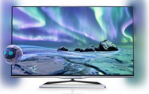 """Jak vidíte, s prvními 3D televizory, tedy řadou 4500 (nahoře) a 5000, nám už začíná atraktivnější design s ultratenkými rámečky z leštěného hliníku, resp. černěné oceli. Řada 5000 pak nabídne hliníkový stojan ve tvaru """"U"""" a poprvé ve své historii i osvětlení pozadí Ambilight."""