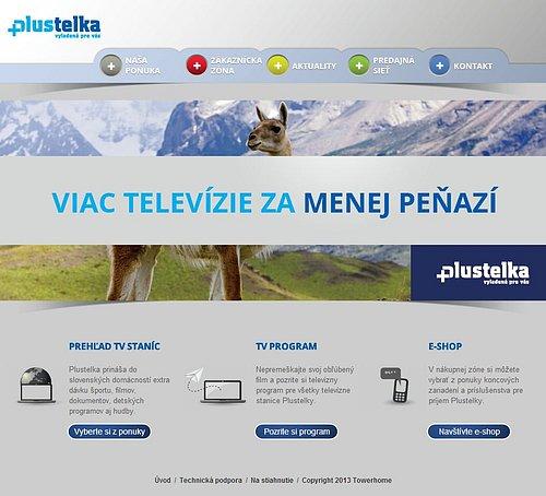 Titulní stránka webu placené služby Plustelka