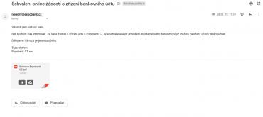 E-mail potvrzující schválení žádosti o otevření účtu. Od této chvíle je účet plně přístupný.