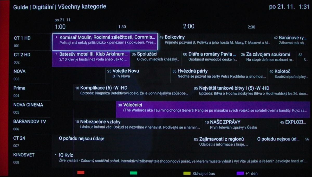 Sony KD-55XD8005 – EPG