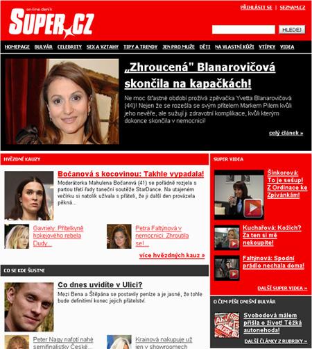 Design magazínu Super.cz tak, jak jej v roce 2008 Seznam spustil. Tehdy šlo ale jen o drobné změny vzhledu, měnily se hlavně vnitřnosti.