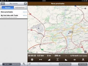 Trails GPS Tracker zaznamená každý váš krok během výletu