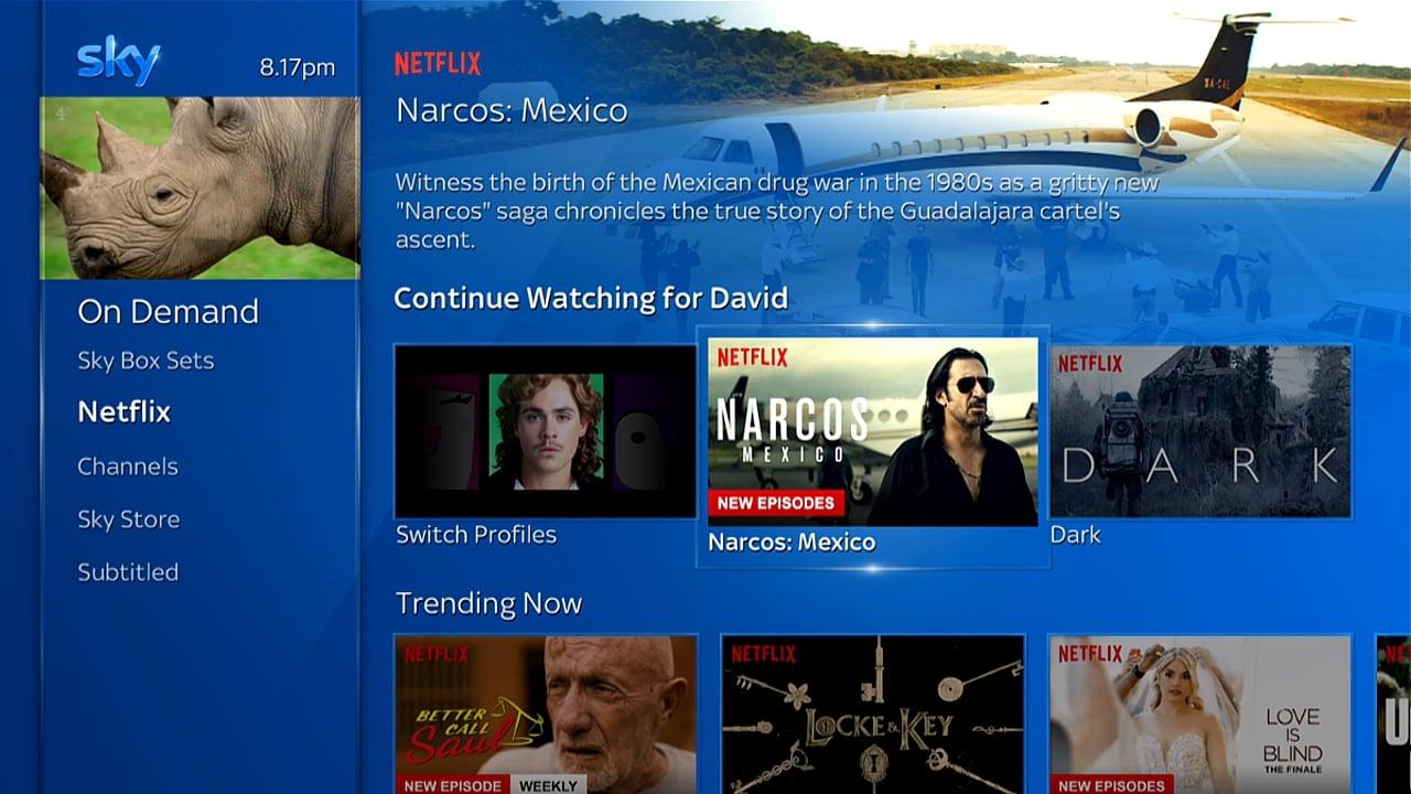 Ukázky britských aplikací Sky Q – VOD videotéky