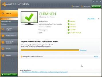 Hlavní okno aplikace avast! Free Antivirus