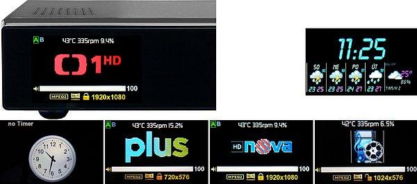 """Ukázky některých zobrazovaných stavů přijímače na LCD 3,2 """" (400 x 240 bodů)."""