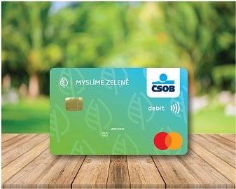 Platební karta ČSOB vyrobená z recyklovaného plastu. (30.9.2020)