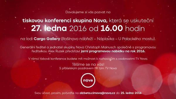 Pozvánka mediální skupiny Nova k dnešní tiskové konferenci
