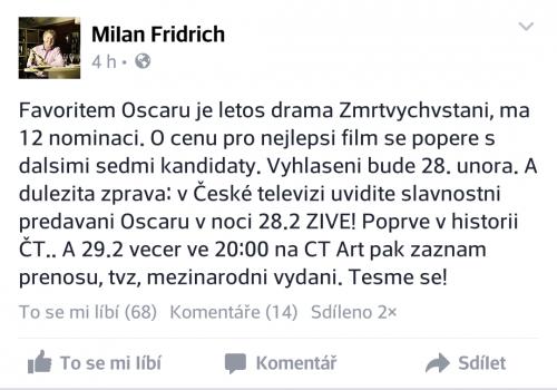 Veřejný status Milana Fridricha na Facebooku týkající se letošních Oscarů