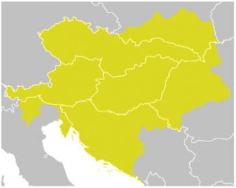 Československo 1918-1938 a zeleně podbarvená silueta Rakouska-Uherska na poválečné mapě Evropy (1929).