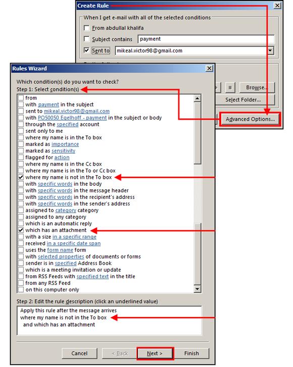 Pro blokování spamu a celou řadu dalších užitečných operací můžete použít svá vlastní pravidla, která se nastavují v průvodci pravidly.