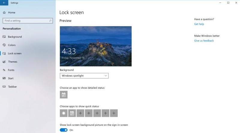 V tomto okně můžete různým aplikacím povolit zobrazování aktualizací stavu na zamykací obrazovce, která se objeví v okamžiku, když ponecháte počítač nějakou chvíli v nečinnosti