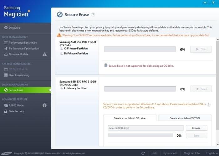 Nástroj Samsung Magician a jeho funkce pro bezpečné vymazání disku. Při spuštění bezpečného vymazání dojde k vymazání všech dat a k návratu do původního stavu včetně výkonu – nebo alespoň do stavu přibližujícího se tomu původnímu