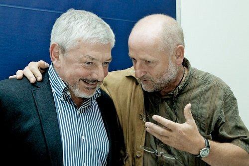Bývalí generání ředitelé. Vladmír Železný a Jiří Balvín byli v dobrém rozmaru.