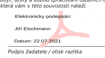 Informace o elektronickém podpisu vložená v LibreOffice