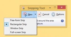 Vyberte si tvar výstřižku a následně vyberte tu oblast, kterou chcete sejmout.