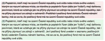 Text přeškrtnutý, podbarvený červeně: text na základě novelizace oproti předchozí verzi vypuštěnText podbarvený zeleně: text na základě novelizace oproti předchozí verzi přidán