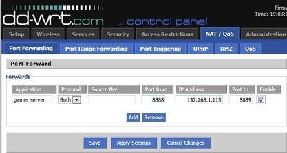 Na tomto obrázku se příchozí provoz na protokolech UDP a TCP a portech 8888-8889 předává počítači s IP adresou 192.168.1.115.