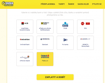 Dobíjet kredit přes internetové bankovnictví můžete také u virtuálních operátorů, kteří mají ve své nabídce předplacené karty