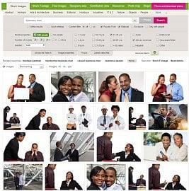 """Možnosti vyhledávání na fotobance Dreamstime - hledal jsem frázi """"business man"""" a chtěl jsem, aby na fotce byli afro-američtí muž a žena ve věku 31-45 let."""