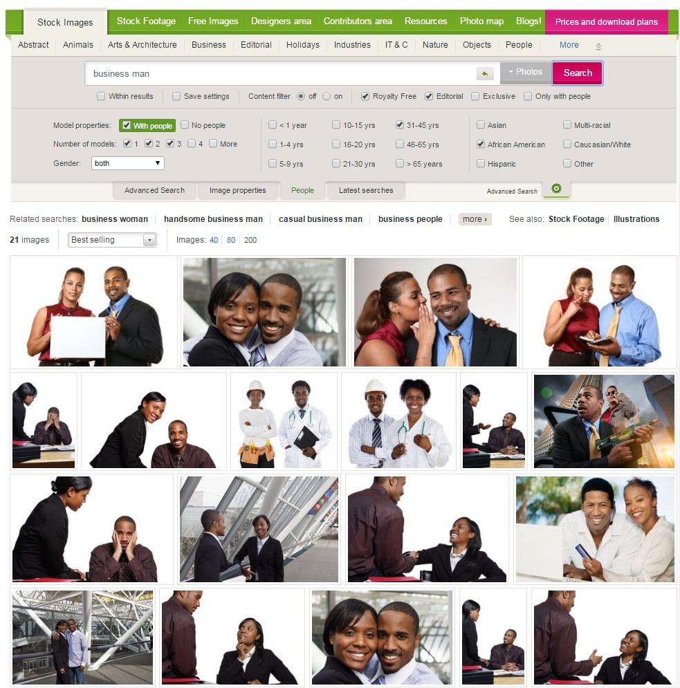 Možnosti vyhledávání na fotobance Dreamstime - hledal jsem frázi